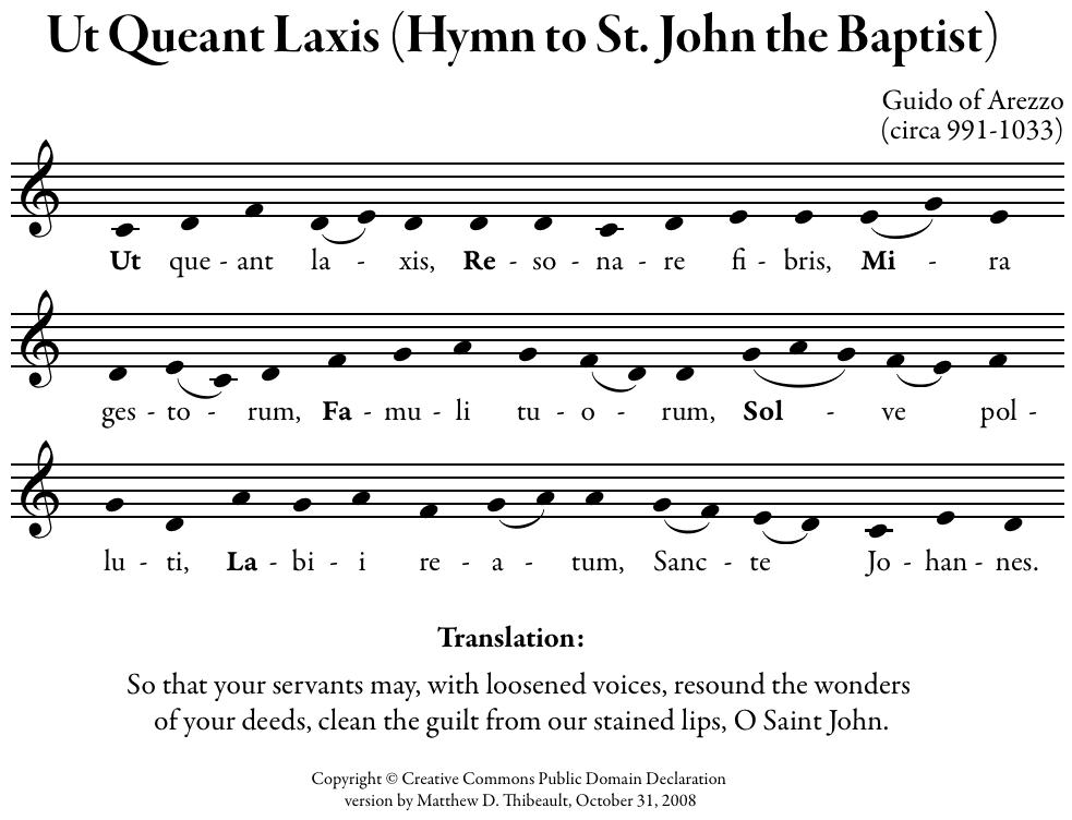 Ut Queant Laxis Latin Hymn Solfeggio Scale