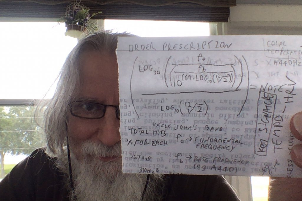 Randy's equation for the conversion of frequency to MIDI note numbers.