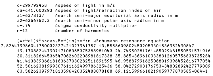 Schumann Resonance Equation Calculation in APL